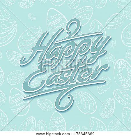 Easter Lettering Pattern Blue