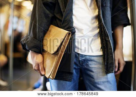 Asian man communication commuter city life