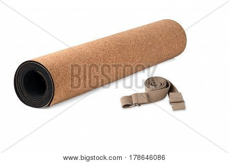 Cork Yoga Mat Premium Eco Friendly With Strap Product on White Background