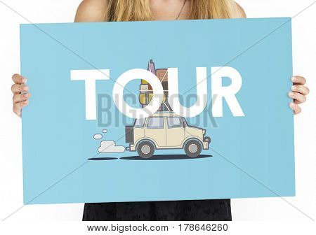 Woman holding illustration of discovery journey road trip traveling banner