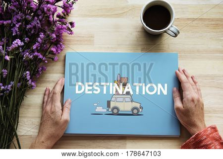 Hands holding illustration of discovery journey road trip traveling banner
