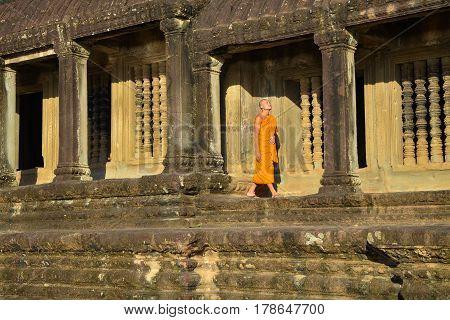 Siem Reap, Cambodia - Circa December 2011 - Portrait shot of an unidentified Buddhist monk in Angkor Wat