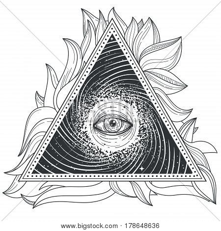 Vector tattoo illustration abstract sacred geometry with an all-seeing eye. Mystic eye inside the triangle against the background of the universe.