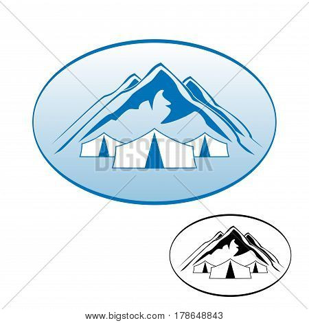 Set of logos. Logo rest in the mountains. For travel Agency. Logos of active rest.
