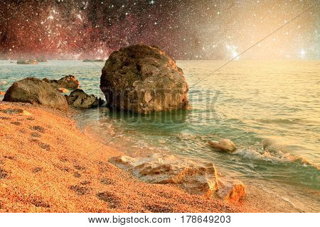 Universe landscape of alien planet with water in deep outer space