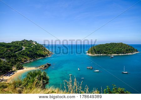 High Angle View Beautiful Landscape Of The Island And Andaman Sea From Windmill Viewpoint Is A Famou