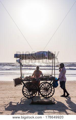 Arambol Beach, Goa, India - February 23, 2017: Coconuts For Sale At Flea Market On Arambol Beach At