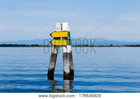 Blank sign in dolphin structure to place your own message on with mountain in background
