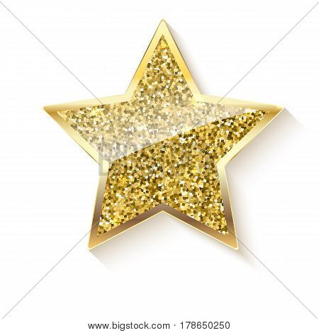 Golden star with glitter and reflex. Glittering toy shaped star with gold border, Christmas ornament. Vector luxury gold star isolated on white background
