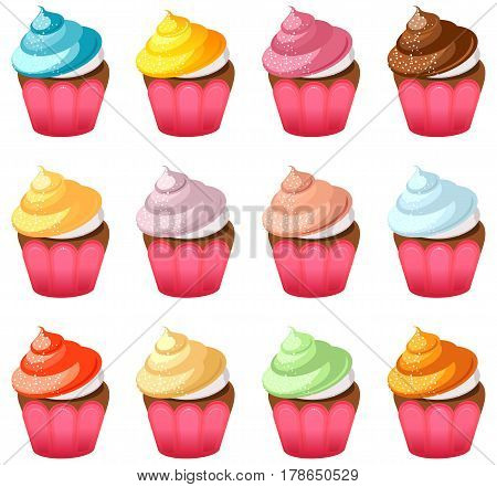 Set of cupcakes with cream and meringue of different flavors isolated on white background vector illustration