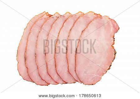 top view of slices of smoked pork loin ham arranged in a stack isolated on white background