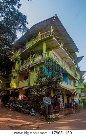 ARAMBOL GOA INDIA - MARCH 1 2017: Street in Arambol North Goa India on March 1 2017.