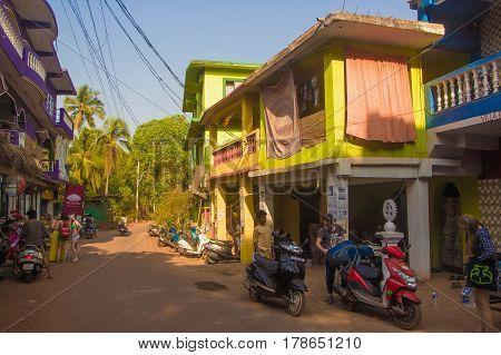Arambol, Goa, India - March 1, 2017: Street In Arambol, North Goa, India On March 1, 2017