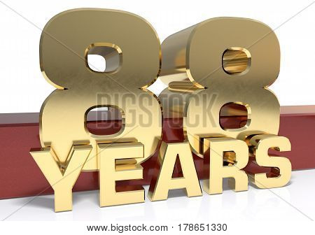 Golden digit eighty eight and the word of the year. 3D illustration