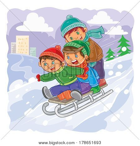 illustration of three little boys roll together on a sled from a hill