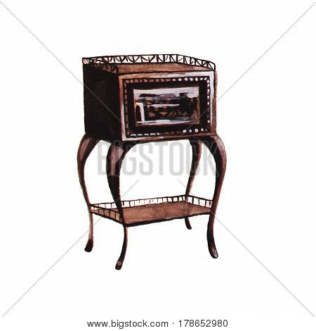 Vintage commode drawer hand drawn watercolor illustration
