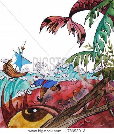 Sinbad on giant fish fairy tale hand drawn watercolor illustration