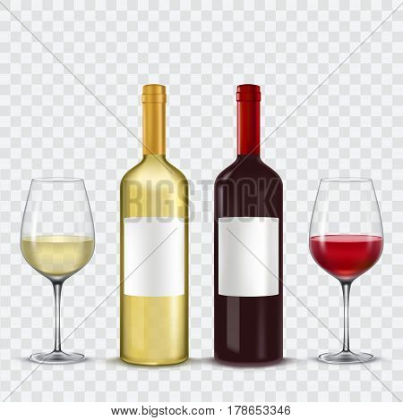 illustration of two bottles and two glasses of wine - red and white