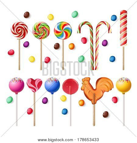 illustration collection of lollipops with a variety of designs.