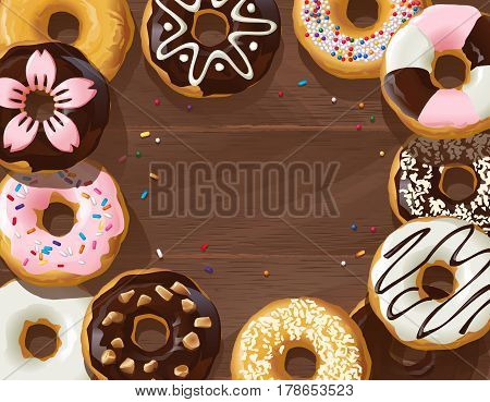 illustration mix of donuts on wooden background