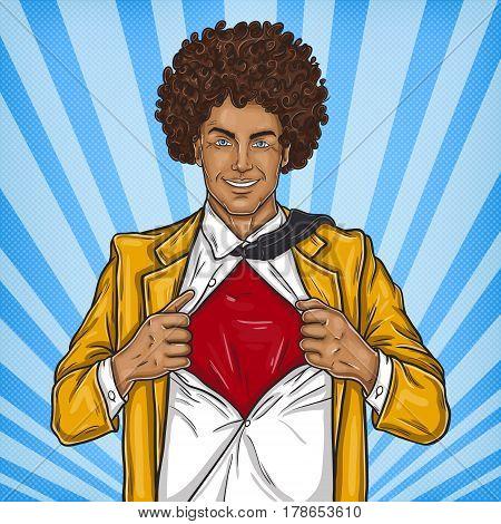 pop art illustration of a negro super dad hero in retro style
