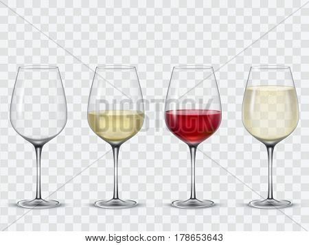 Set transparent wine glasses empty, with white and red wine.