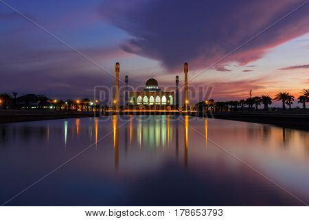 Songkhla Thailand - May 12 2016: Beautiful sunset of Central Songkhla Mosque Thailand.