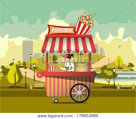 Street food with popcorn machine vector illustration