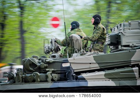 Russia. Moscow. Tver street 09 May 2009 Victory Parade. Military equipment in the city. Soldiers on the tank