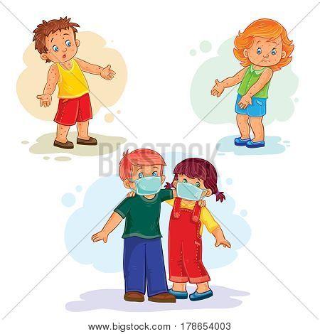 Set icons little children sick. Kids and virus