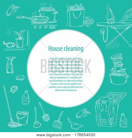 Vector sketch illustration on a dark background of objects and situations housework and with space for text. Unwashed dishes and not ironed linen, items and accessories for cleaning, food and cooking