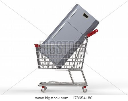 household appliance shopping with 3d rendering mock up refrigerator in shopping cart