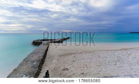 Long exposure beautiful scenery of tropical Maldives island