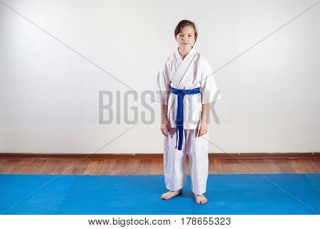 Children Work Out Techniques Of Martial Arts. Fighting Position