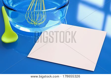 Blank Paper With Wire Whisk In A Bowl