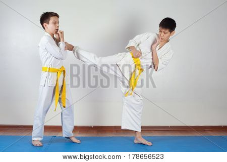Two boys demonstrate martial arts working together. Fighting position active lifestyle practicing fighting techniques