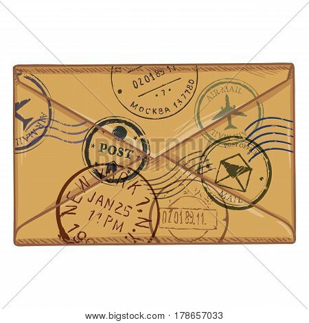 Vector Cartoon Brown Envelope With Postal Stamps