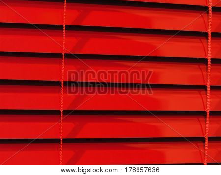 close up of the red horizontal blinds