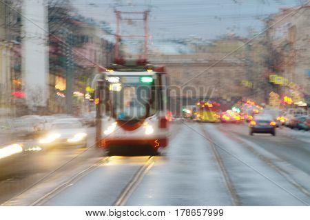 Rails on city road was designed for traffic tram transportation .