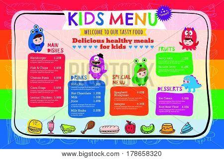 Cute colorful vibrant kids meal menu placemat vector template