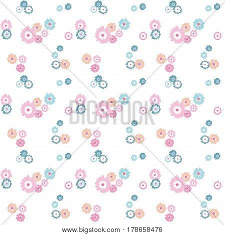 Seamless pattern of of colorful flowers flowers on white background. Spring light airy texture. vector.