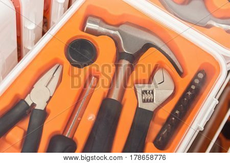 Modern set of tools in tool box