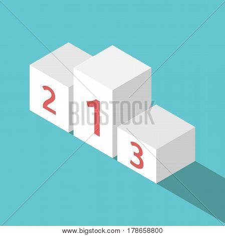 Isometric white winners podium isolated on turquoise blue background with drop shadow. Victory success and achievement concept. Flat design. No transparency no gradients