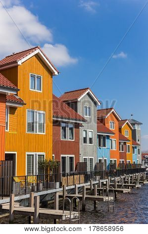 Colorful Wooden Houses At The Reitdiephaven In Groningen