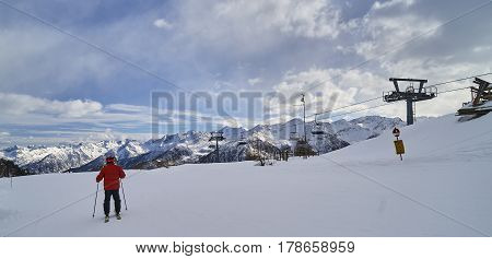 Pejo, Italy - March 7, 2017:ski Areas Around Pejo On 7 March 201