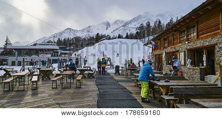 Pejo, Italy - March 7, 2017: Bar Ristorante Scoiattolo On 7 Marc