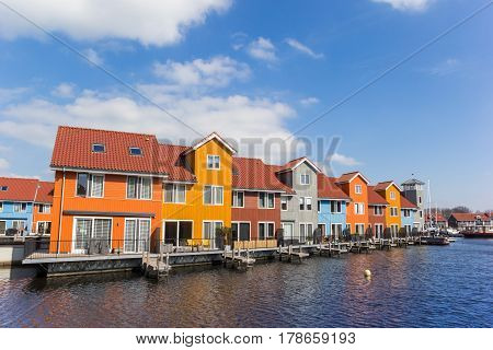 Colorful Houses At The Reitdiephaven In Groningen