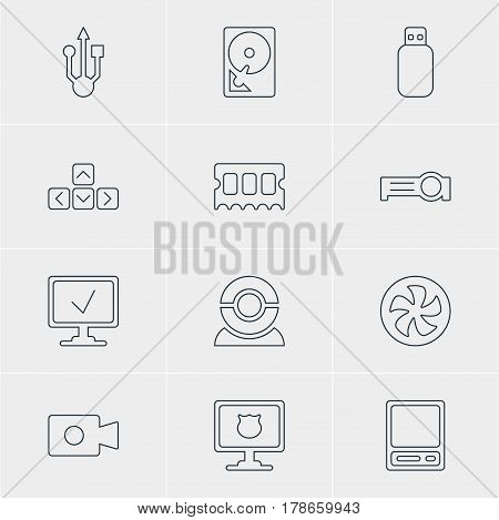 Vector Illustration Of 12 Laptop Icons. Editable Pack Of Antivirus, Hard Drive Disk, Flash Drive And Other Elements.