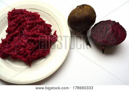 beet salad on plate and fruit beet