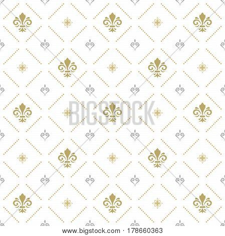 Seamless silver and golden ornament. Modern geometric pattern with royal lilies
